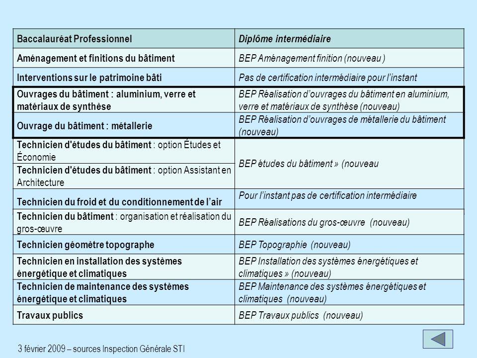 Baccalauréat Professionnel Diplôme intermédiaire Aménagement et finitions du bâtiment BEP Aménagement finition (nouveau ) Interventions sur le patrimo