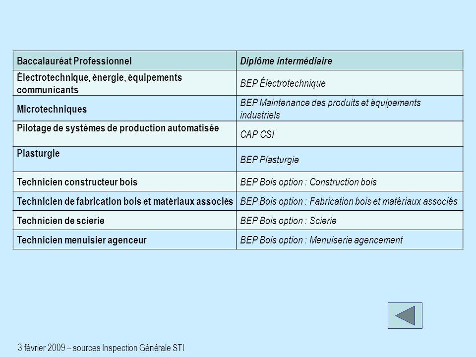 Baccalauréat Professionnel Diplôme intermédiaire Électrotechnique, énergie, équipements communicants BEP Électrotechnique Microtechniques BEP Maintena