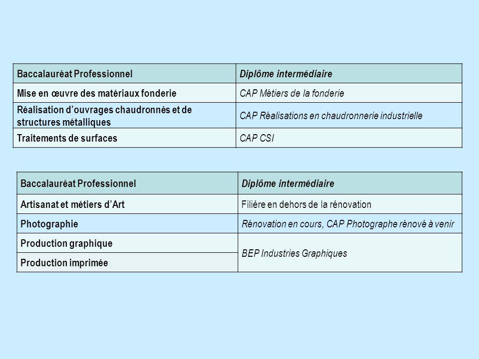 Baccalauréat Professionnel Diplôme intermédiaire Mise en œuvre des matériaux fonderie CAP Métiers de la fonderie Réalisation douvrages chaudronnés et