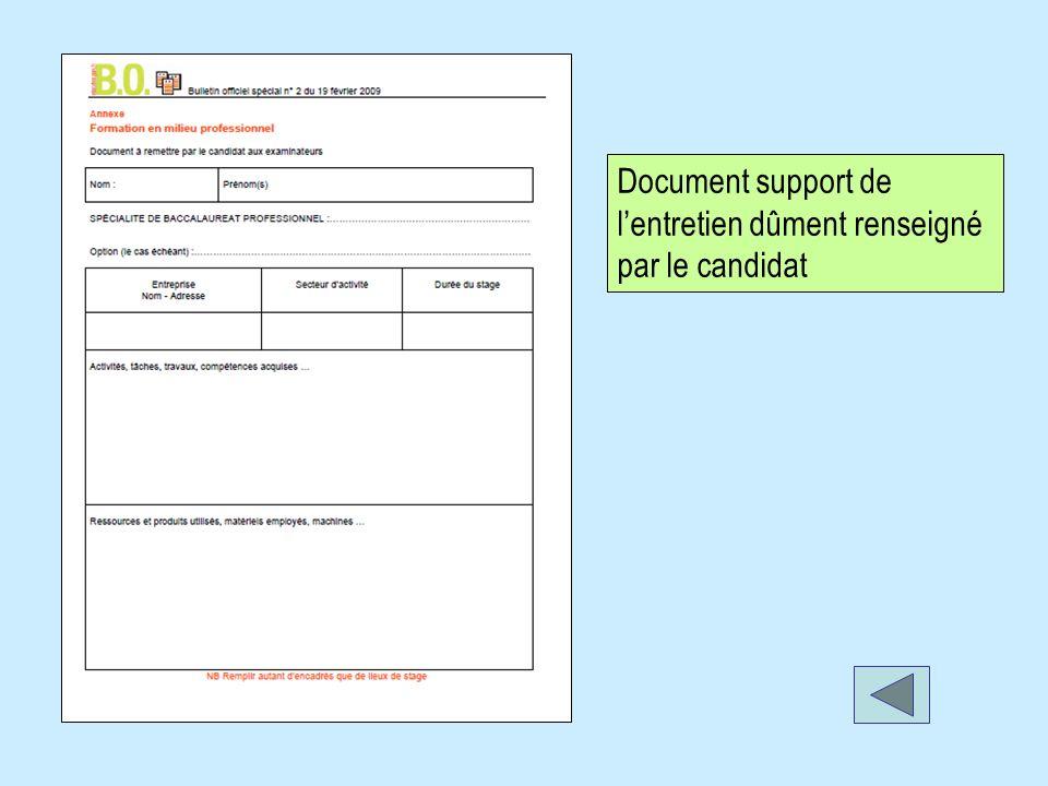 Document support de lentretien dûment renseigné par le candidat