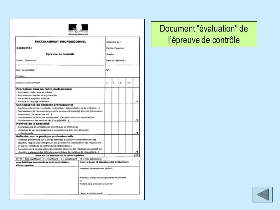 Document évaluation de lépreuve de contrôle