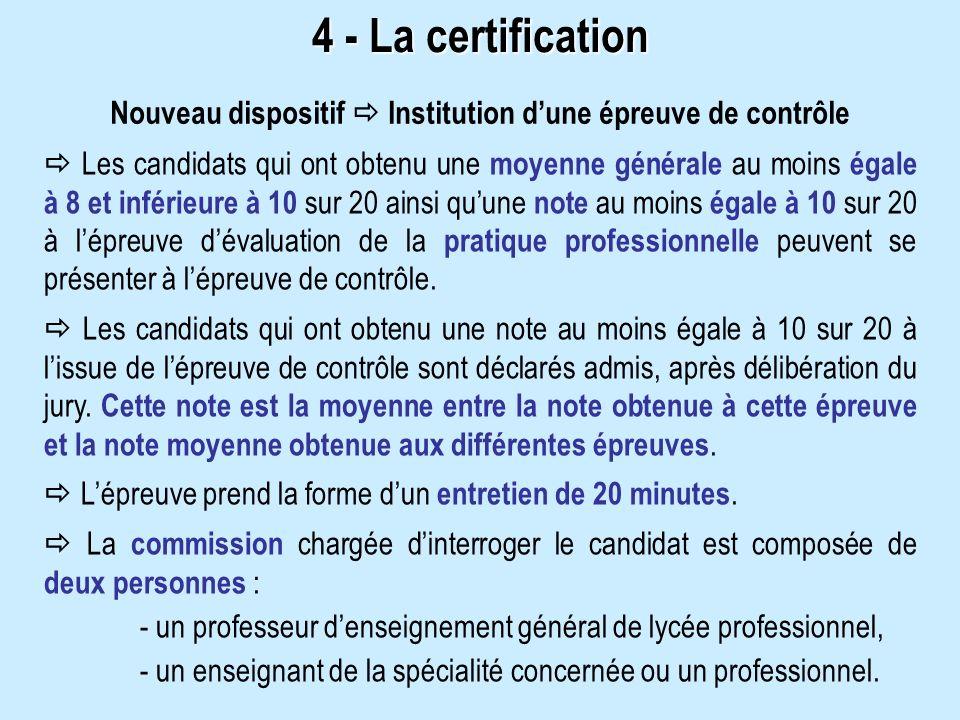 4 - La certification Les candidats qui ont obtenu une moyenne générale au moins égale à 8 et inférieure à 10 sur 20 ainsi quune note au moins égale à 10 sur 20 à lépreuve dévaluation de la pratique professionnelle peuvent se présenter à lépreuve de contrôle.