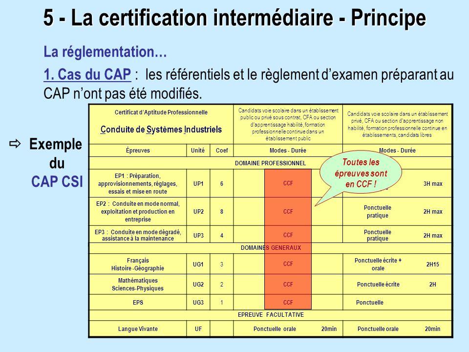 La réglementation… 1. Cas du CAP : les référentiels et le règlement dexamen préparant au CAP nont pas été modifiés. Certificat dAptitude Professionnel