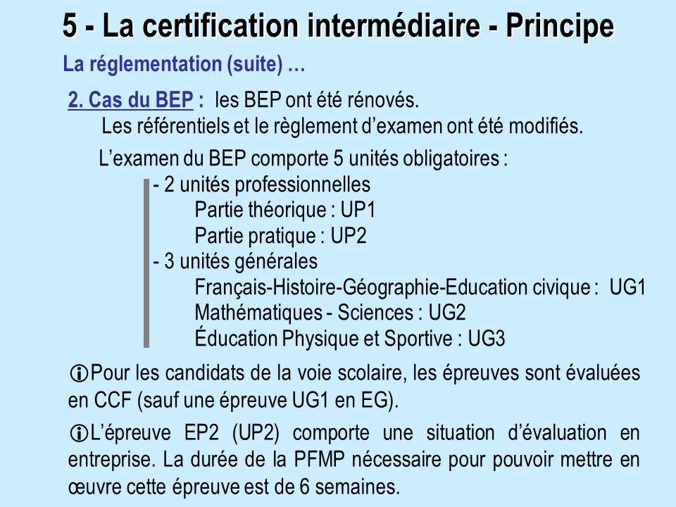 2. Cas du BEP : les BEP ont été rénovés. Les référentiels et le règlement dexamen ont été modifiés. Pour les candidats de la voie scolaire, les épreuv