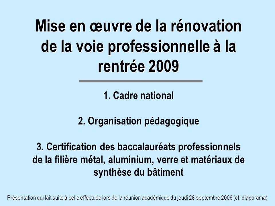 Mise en œuvre de la rénovation de la voie professionnelle à la rentrée 2009 Mise en œuvre de la rénovation de la voie professionnelle à la rentrée 200