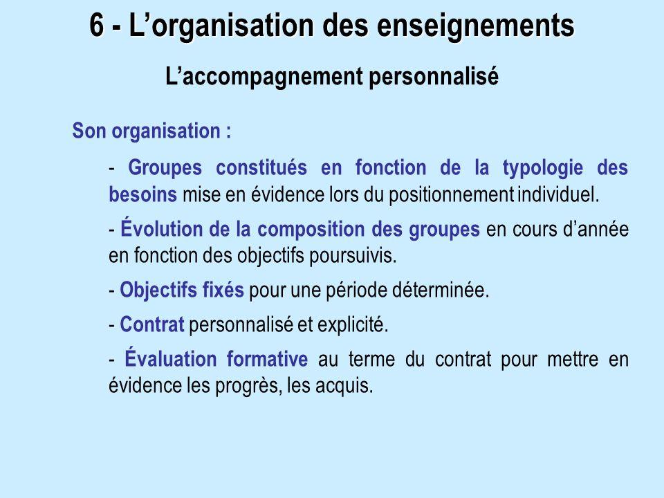 Son organisation : - Groupes constitués en fonction de la typologie des besoins mise en évidence lors du positionnement individuel.