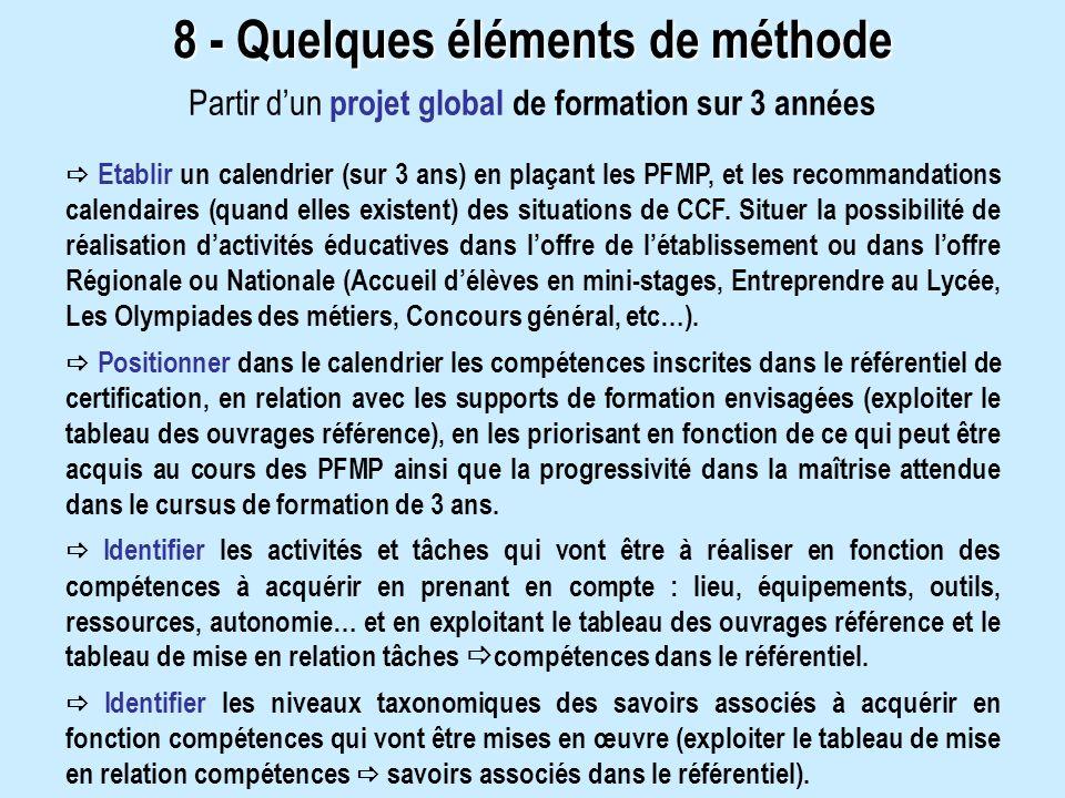 8 - Quelques éléments de méthode Partir dun projet global de formation sur 3 années Etablir un calendrier (sur 3 ans) en plaçant les PFMP, et les recommandations calendaires (quand elles existent) des situations de CCF.