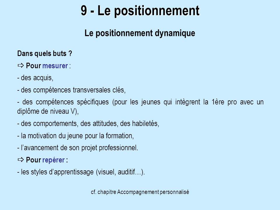 9 - Le positionnement Dans quels buts ? Pour mesurer : - des acquis, - des compétences transversales clés, - des compétences spécifiques (pour les jeu