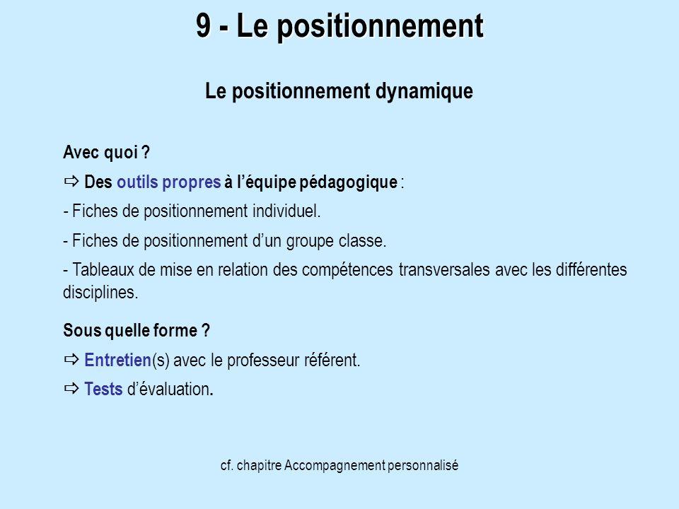 9 - Le positionnement Le positionnement dynamique cf. chapitre Accompagnement personnalisé Avec quoi ? Des outils propres à léquipe pédagogique : - Fi