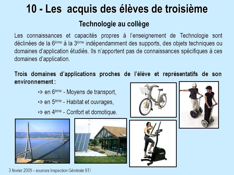 Trois domaines dapplications proches de lélève et représentatifs de son environnement : en 6 ème - Moyens de transport, en 5 ème - Habitat et ouvrages, en 4 ème - Confort et domotique.
