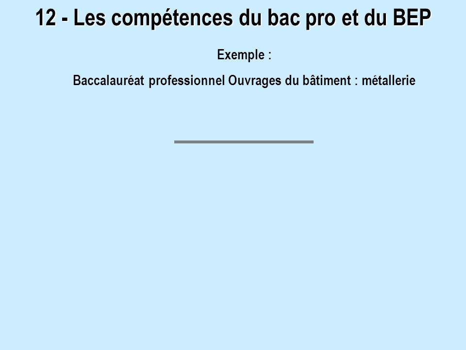 12 - Les compétences du bac pro et du BEP Exemple : Baccalauréat professionnel Ouvrages du bâtiment : métallerie