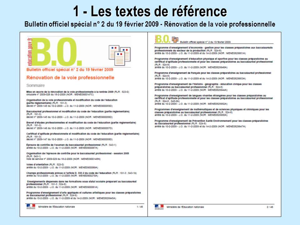 Bulletin officiel spécial n° 2 du 19 février 2009 - Rénovation de la voie professionnelle 1 - Les textes de référence