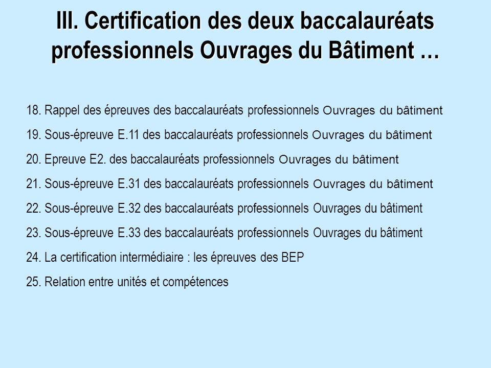 III. Certification des deux baccalauréats professionnels Ouvrages du Bâtiment … 18. Rappel des épreuves des baccalauréats professionnels Ouvrages du b