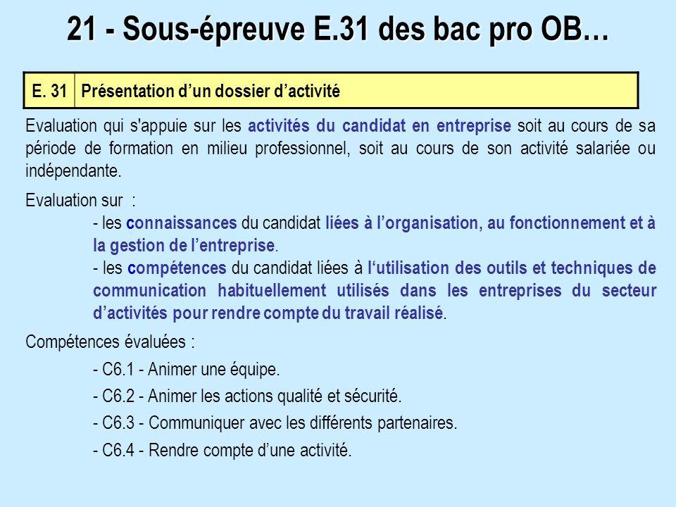 E. 31 Présentation dun dossier dactivité 21 - Sous-épreuve E.31 des bac pro OB… Evaluation qui s'appuie sur les activités du candidat en entreprise so