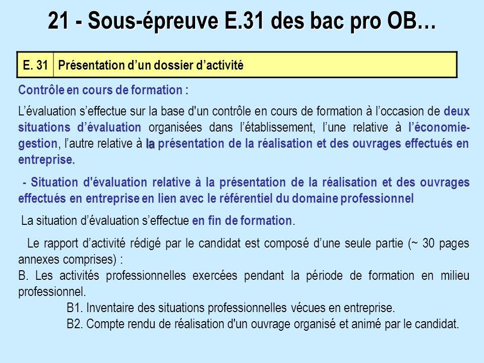 E. 31 Présentation dun dossier dactivité 21 - Sous-épreuve E.31 des bac pro OB… Contrôle en cours de formation : la Lévaluation seffectue sur la base