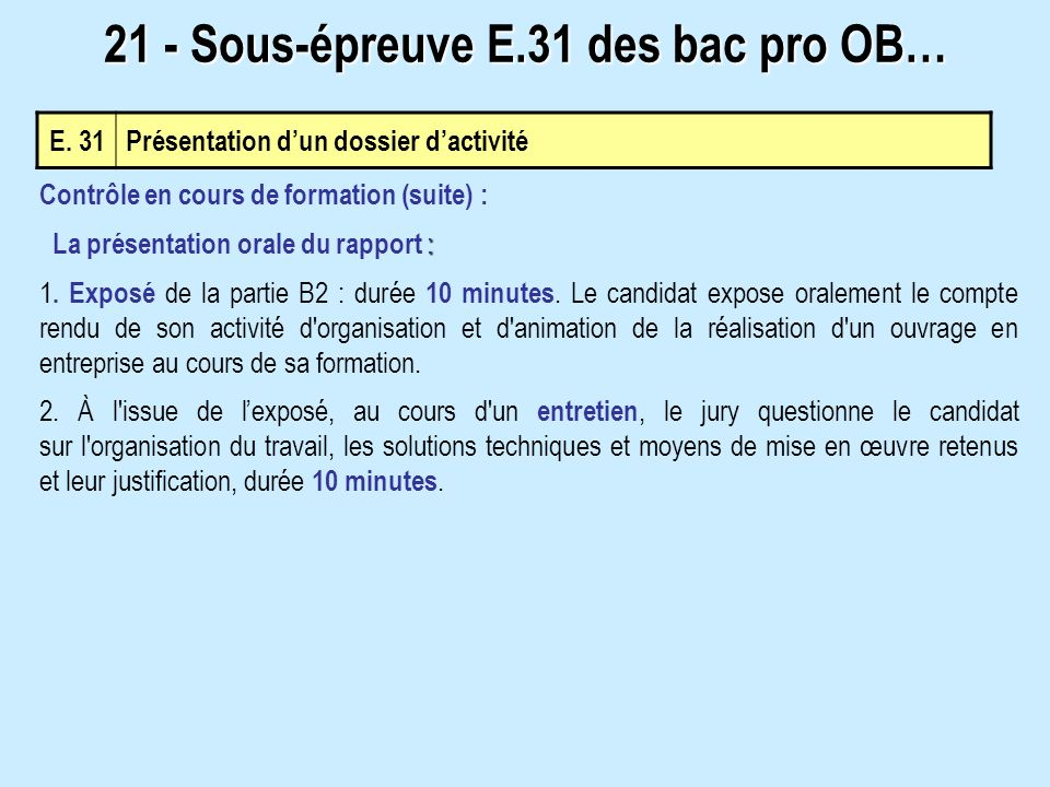 E. 31 Présentation dun dossier dactivité 21 - Sous-épreuve E.31 des bac pro OB… Contrôle en cours de formation (suite) : : La présentation orale du ra