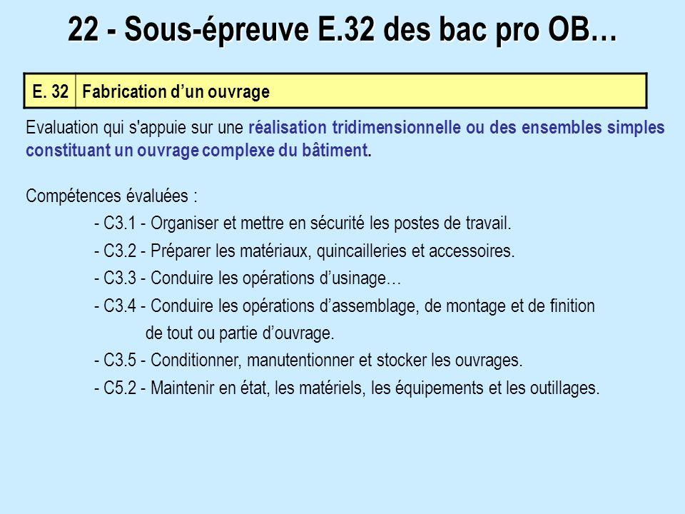 E. 32Fabrication dun ouvrage 22 - Sous-épreuve E.32 des bac pro OB… Evaluation qui s'appuie sur une réalisation tridimensionnelle ou des ensembles sim