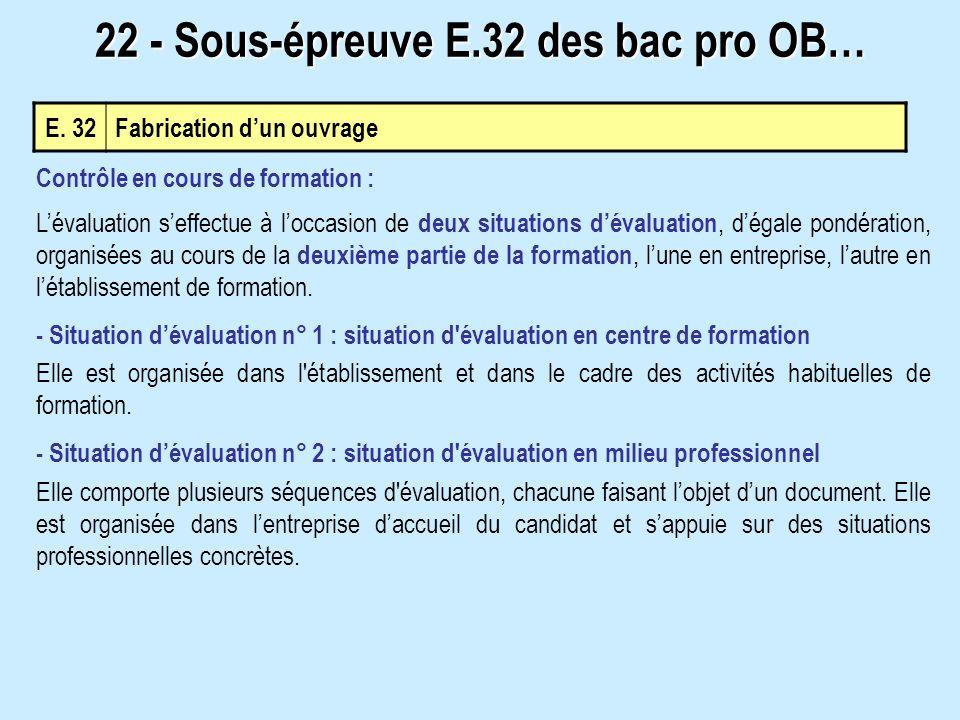 E. 32Fabrication dun ouvrage 22 - Sous-épreuve E.32 des bac pro OB… Contrôle en cours de formation : Lévaluation seffectue à loccasion de deux situati