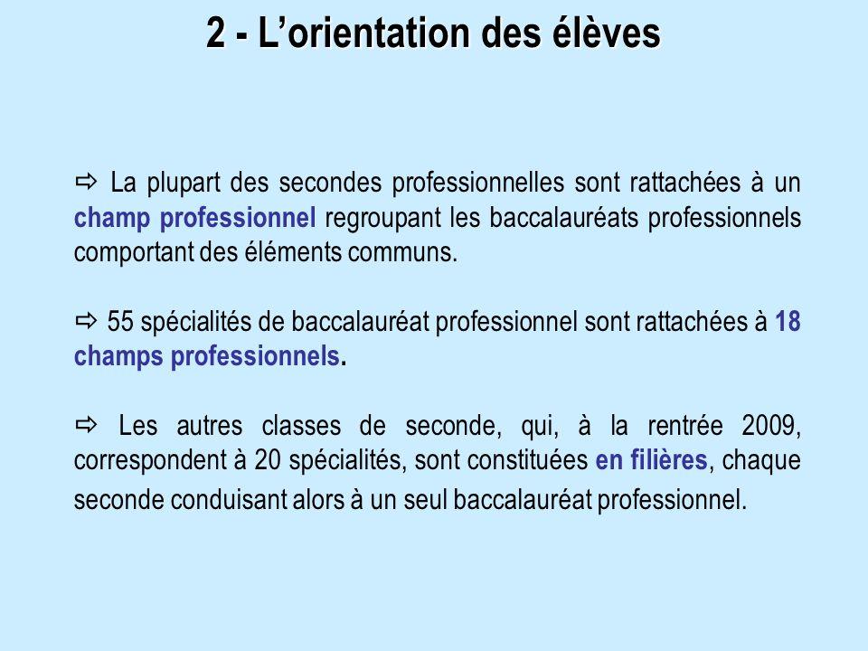 La plupart des secondes professionnelles sont rattachées à un champ professionnel regroupant les baccalauréats professionnels comportant des éléments
