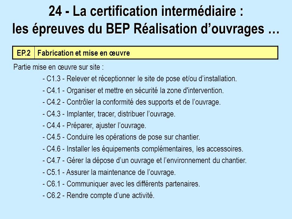 EP.2 Fabrication et mise en œuvre Partie mise en œuvre sur site : - C1.3 - Relever et réceptionner le site de pose et/ou dinstallation. - C4.1 - Organ