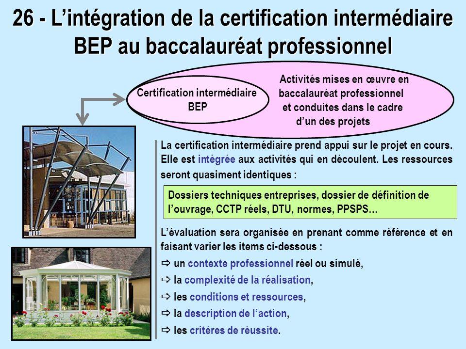26 - Lintégration de la certification intermédiaire BEP au baccalauréat professionnel La certification intermédiaire prend appui sur le projet en cours.