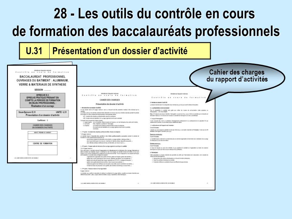 U.31Présentation dun dossier dactivité Cahier des charges du rapport dactivités 28 - Les outils du contrôle en cours de formation des baccalauréats pr