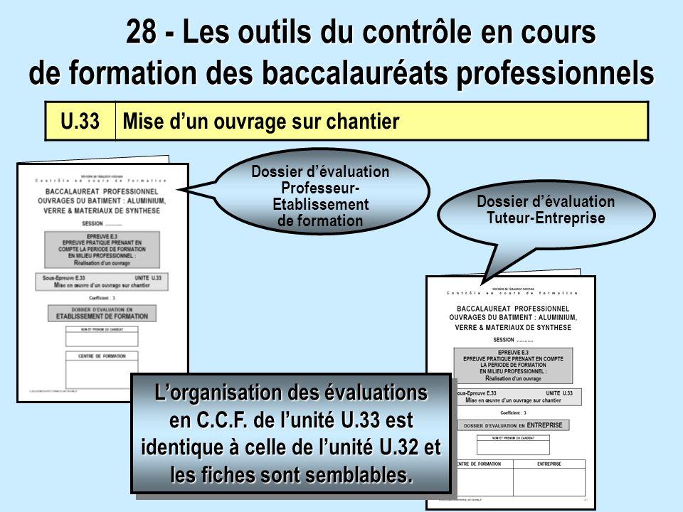 Dossier dévaluation Professeur- Etablissement de formation Dossier dévaluation Tuteur-Entreprise Lorganisation des évaluations en C.C.F. de lunité U.3