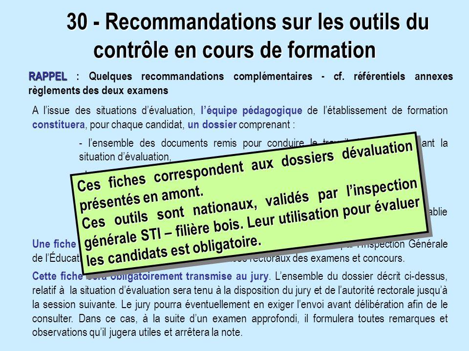 RAPPEL RAPPEL : Quelques recommandations complémentaires - cf. référentiels annexes règlements des deux examens 30 - Recommandations sur les outils du