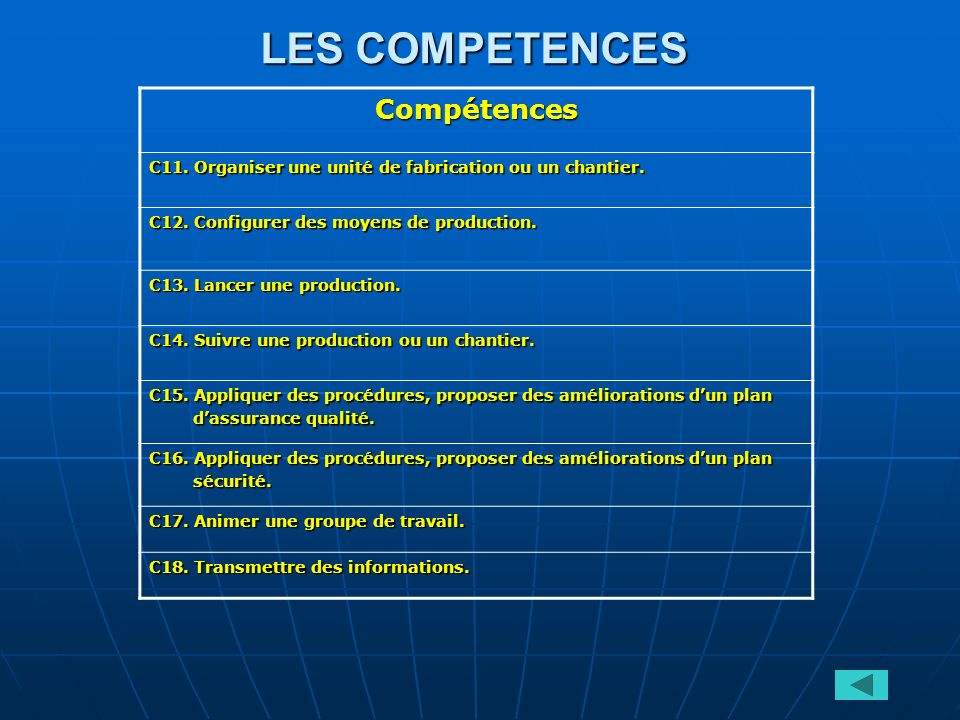 LES COMPETENCES Compétences C11. Organiser une unité de fabrication ou un chantier. C12. Configurer des moyens de production. C13. Lancer une producti