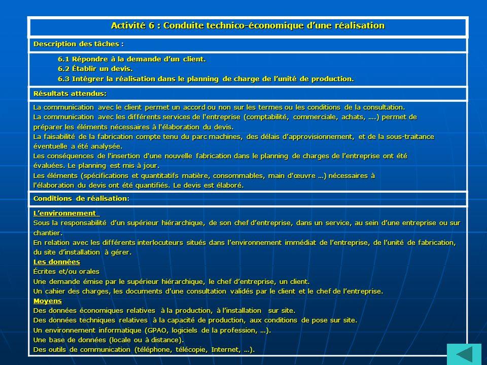 Activité 6 : Conduite technico-économique dune réalisation Description des tâches : 6.1 Répondre à la demande dun client. 6.2 Établir un devis. 6.3 In
