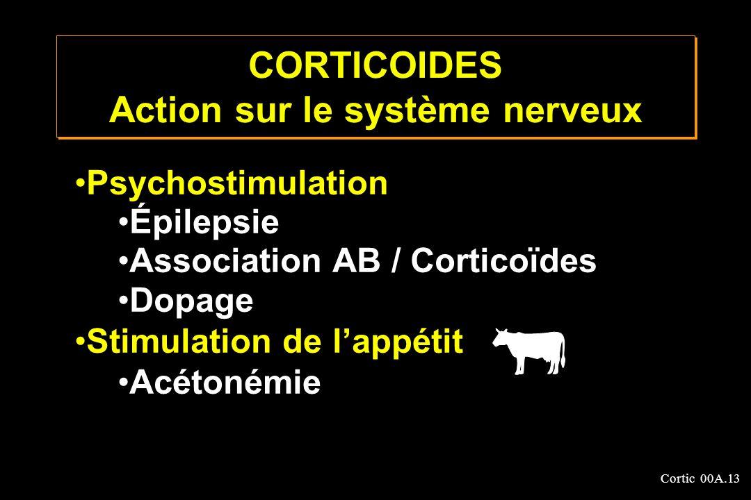 Cortic 00A.13 Psychostimulation Épilepsie Association AB / Corticoïdes Dopage Stimulation de lappétit Acétonémie CORTICOIDES Action sur le système ner