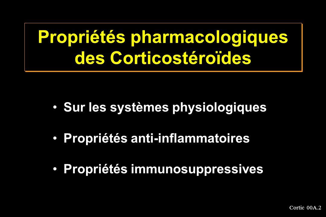 Cortic 00A.2 Propriétés pharmacologiques des Corticostéroïdes Sur les systèmes physiologiques Propriétés anti-inflammatoires Propriétés immunosuppress