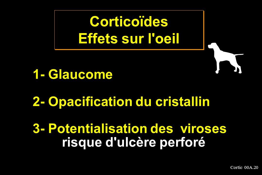 Cortic 00A.20 1- Glaucome 2- Opacification du cristallin 3- Potentialisation des viroses risque d'ulcère perforé Corticoïdes Effets sur l'oeil