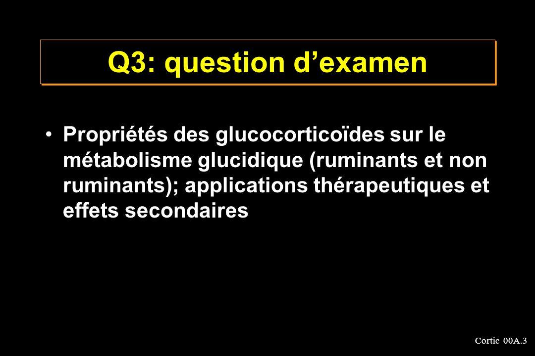 Cortic 00A.3 Q3: question dexamen Propriétés des glucocorticoïdes sur le métabolisme glucidique (ruminants et non ruminants); applications thérapeutiq