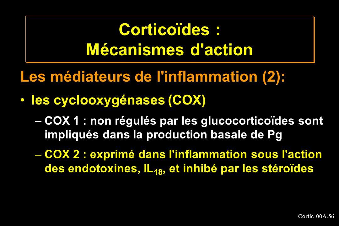 Cortic 00A.56 Les médiateurs de l'inflammation (2): les cyclooxygénases (COX) –COX 1 : non régulés par les glucocorticoïdes sont impliqués dans la pro