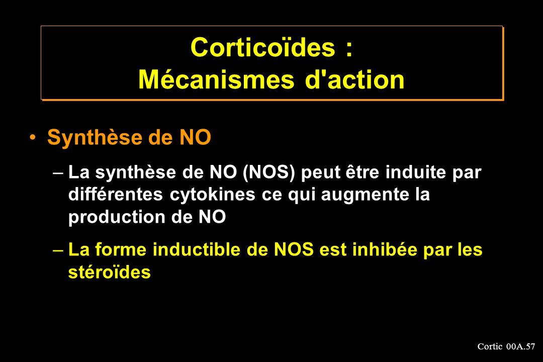 Cortic 00A.57 Synthèse de NO –La synthèse de NO (NOS) peut être induite par différentes cytokines ce qui augmente la production de NO –La forme induct