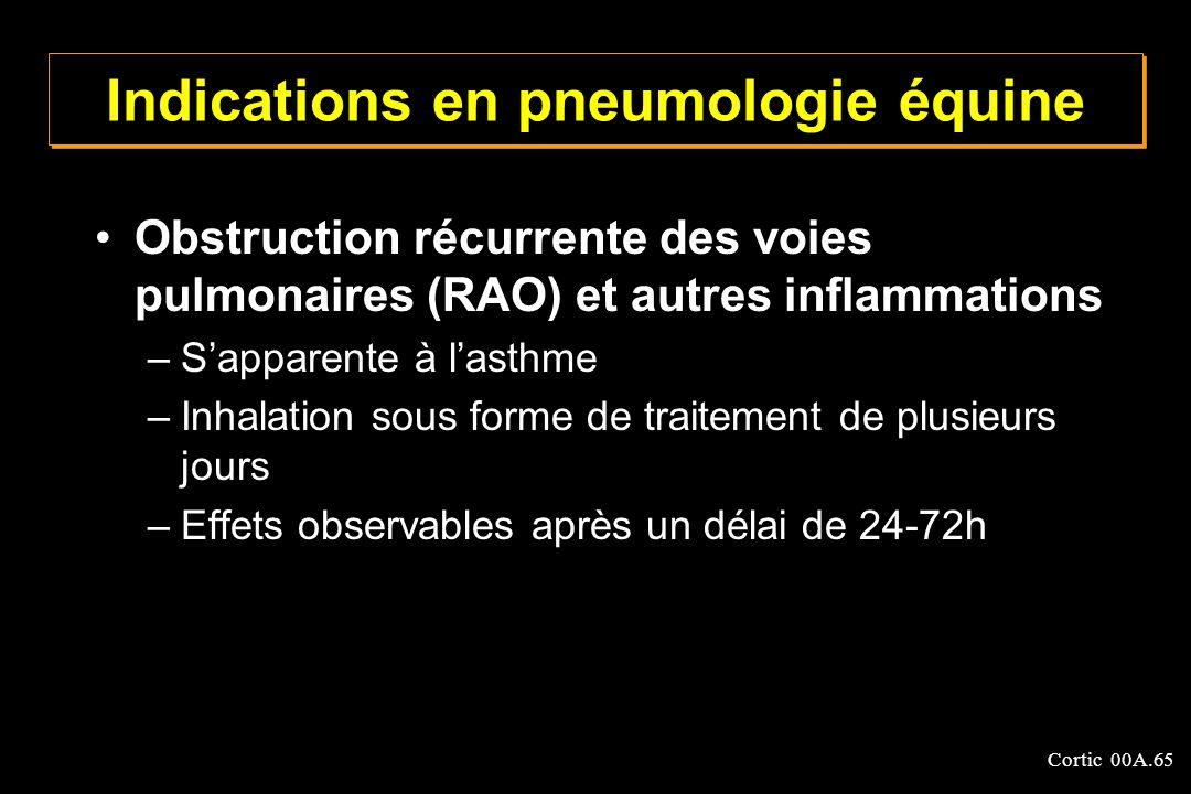 Cortic 00A.65 Indications en pneumologie équine Obstruction récurrente des voies pulmonaires (RAO) et autres inflammations –Sapparente à lasthme –Inha
