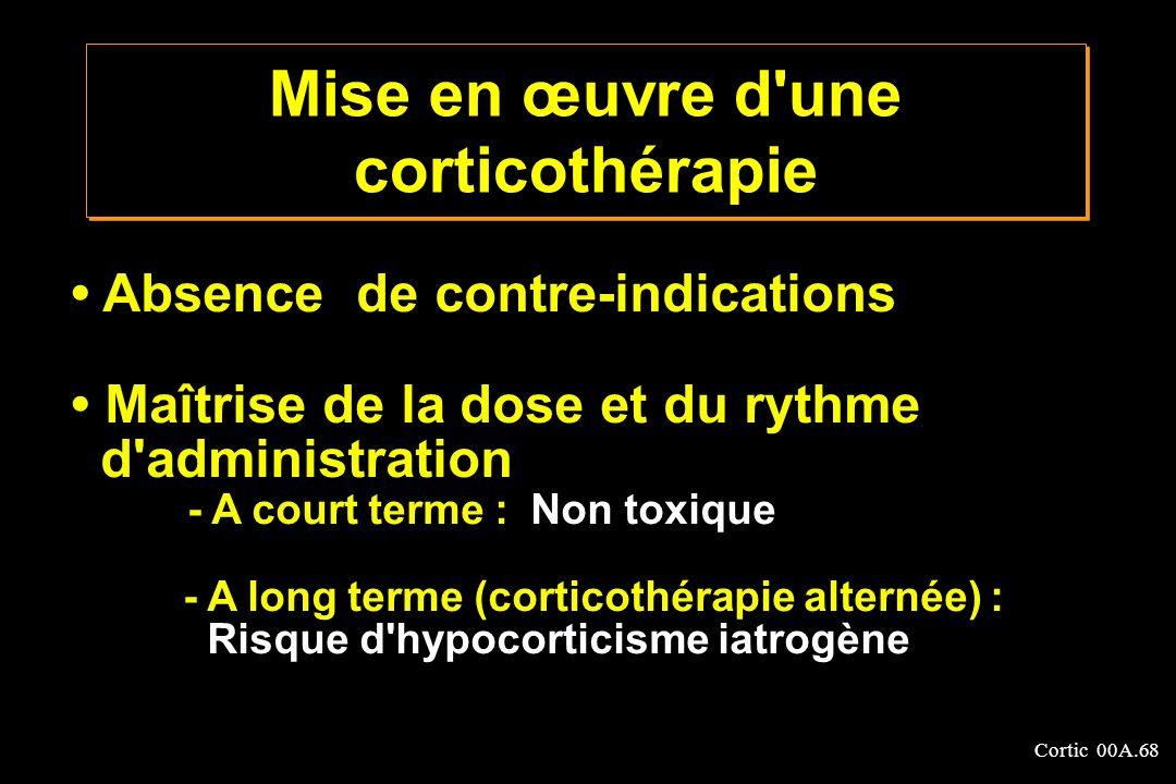 Cortic 00A.68 Absence de contre-indications Maîtrise de la dose et du rythme d'administration - A court terme : Non toxique - A long terme (corticothé