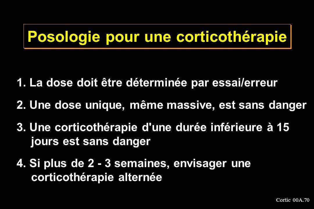 Cortic 00A.70 1. La dose doit être déterminée par essai/erreur 2. Une dose unique, même massive, est sans danger 3. Une corticothérapie d'une durée in