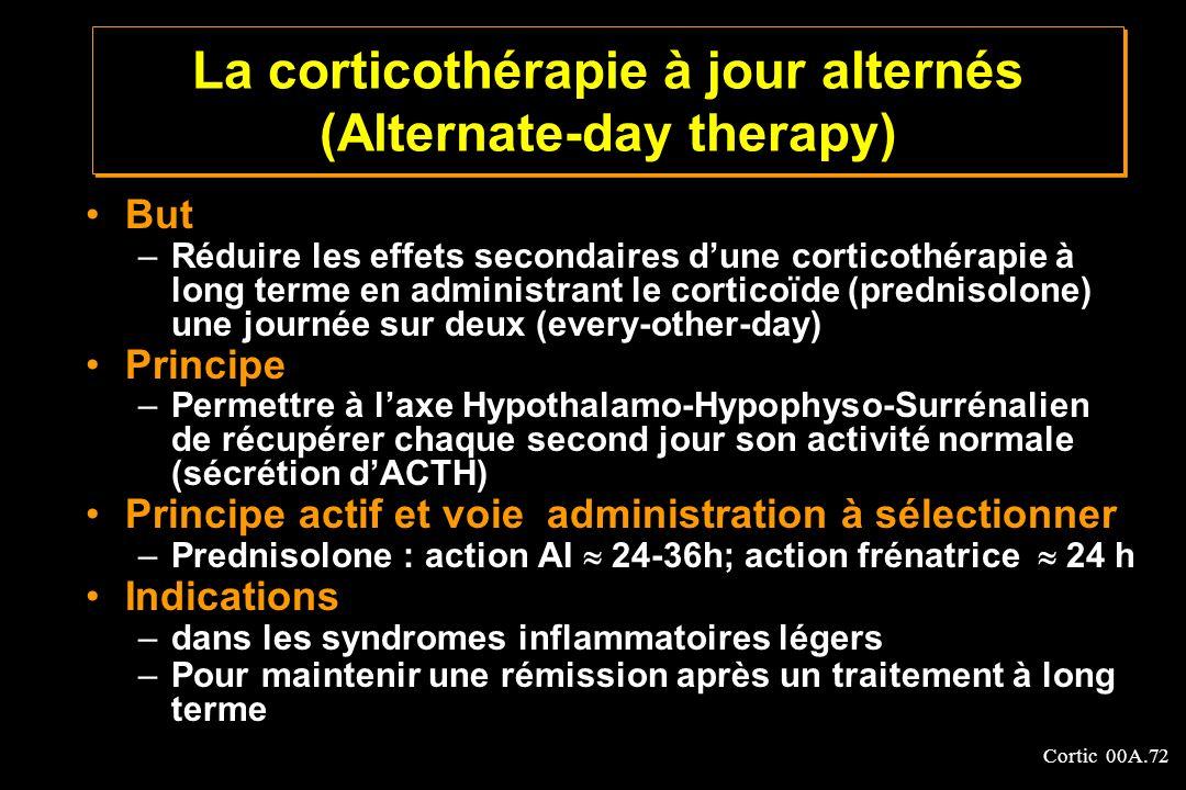 Cortic 00A.72 La corticothérapie à jour alternés (Alternate-day therapy) But –Réduire les effets secondaires dune corticothérapie à long terme en admi