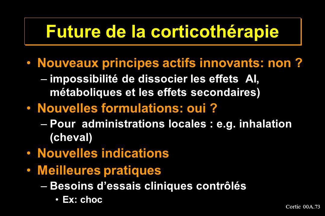 Cortic 00A.73 Future de la corticothérapie Nouveaux principes actifs innovants: non ? –impossibilité de dissocier les effets AI, métaboliques et les e