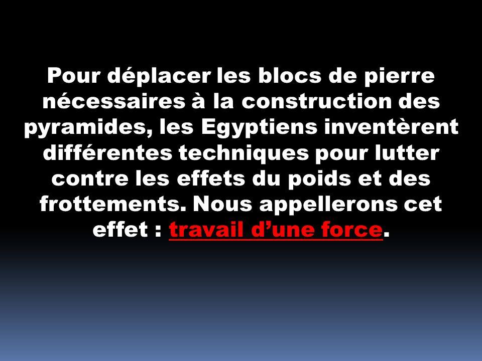Pour déplacer les blocs de pierre nécessaires à la construction des pyramides, les Egyptiens inventèrent différentes techniques pour lutter contre les