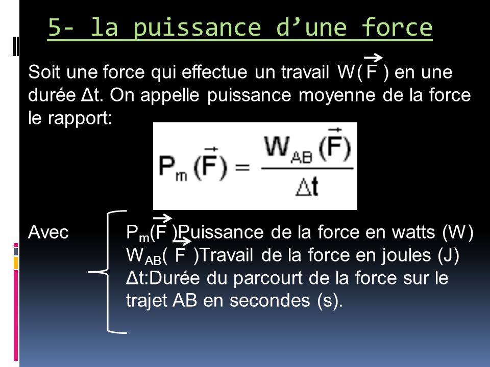 5- la puissance dune force Soit une force qui effectue un travail W( ) en une durée Δt. On appelle puissance moyenne de la force le rapport: Avec P m