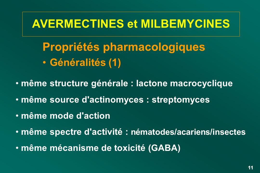 11 AVERMECTINES et MILBEMYCINES Propriétés pharmacologiques Généralités (1) même structure générale : lactone macrocyclique même source d'actinomyces