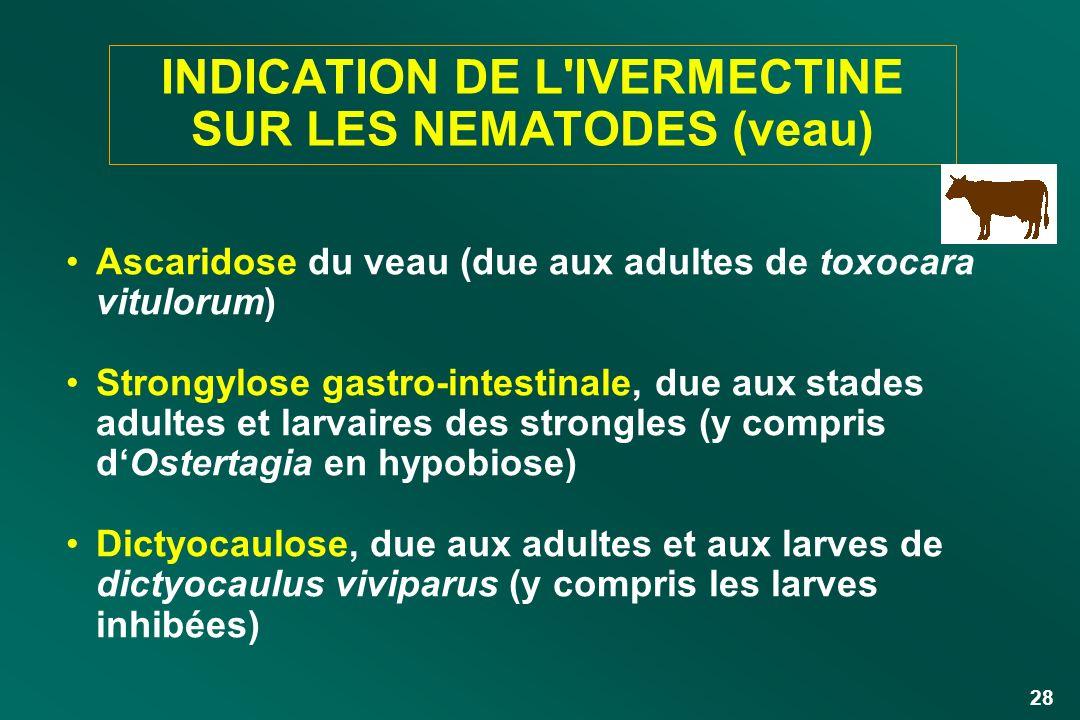 28 INDICATION DE L'IVERMECTINE SUR LES NEMATODES (veau) Ascaridose du veau (due aux adultes de toxocara vitulorum) Strongylose gastro-intestinale, due