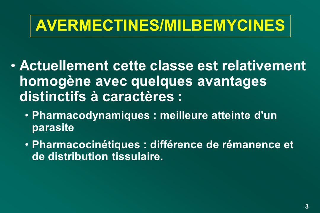 3 AVERMECTINES/MILBEMYCINES Actuellement cette classe est relativement homogène avec quelques avantages distinctifs à caractères : Pharmacodynamiques