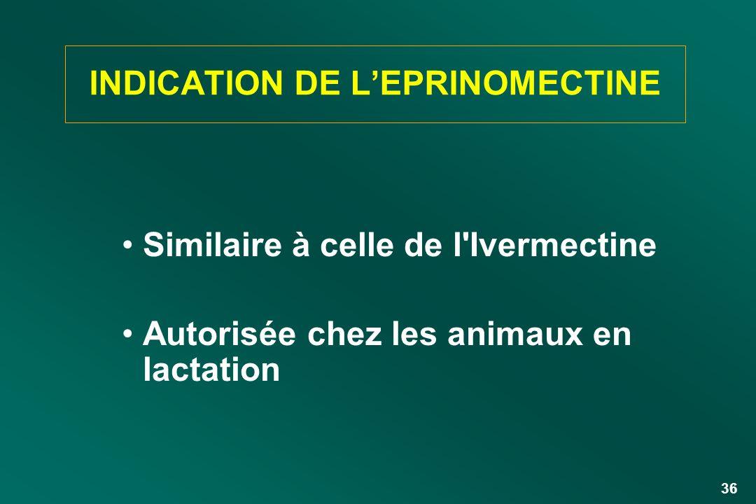 36 INDICATION DE LEPRINOMECTINE Similaire à celle de l'Ivermectine Autorisée chez les animaux en lactation