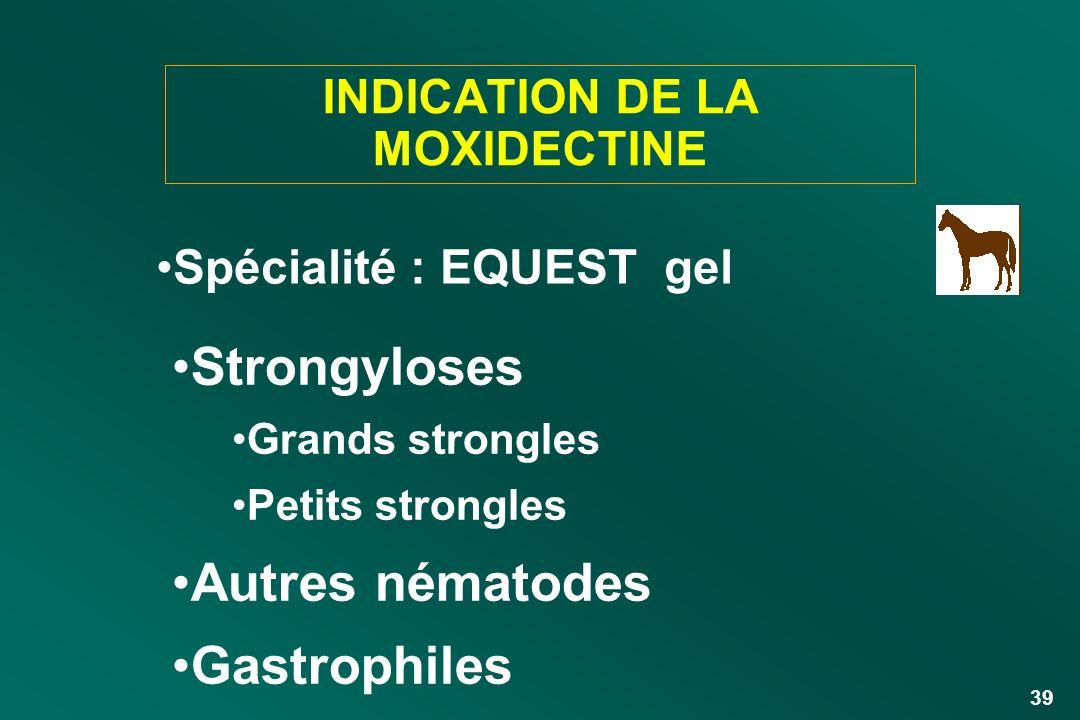 39 INDICATION DE LA MOXIDECTINE Strongyloses Grands strongles Petits strongles Autres nématodes Gastrophiles Spécialité : EQUEST gel