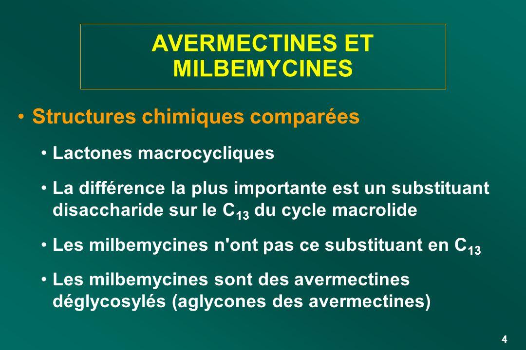 4 AVERMECTINES ET MILBEMYCINES Structures chimiques comparées Lactones macrocycliques La différence la plus importante est un substituant disaccharide