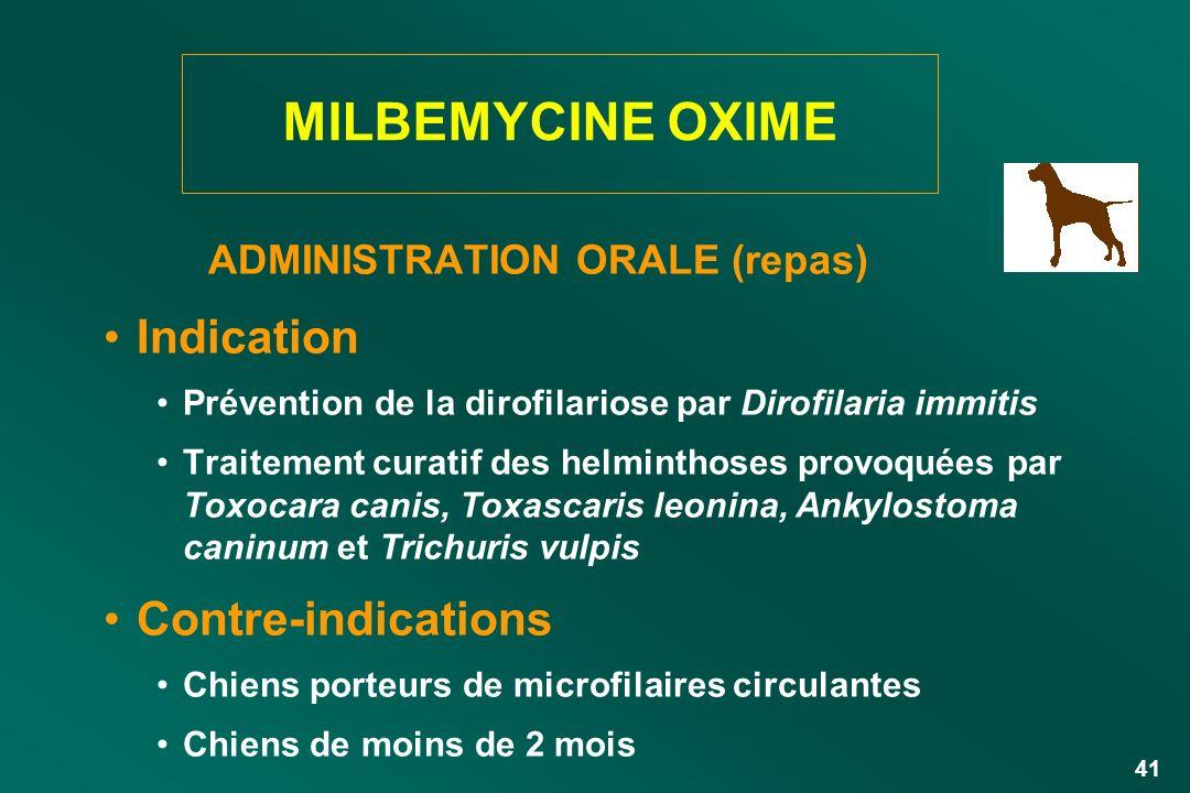 41 ADMINISTRATION ORALE (repas) Indication Prévention de la dirofilariose par Dirofilaria immitis Traitement curatif des helminthoses provoquées par T
